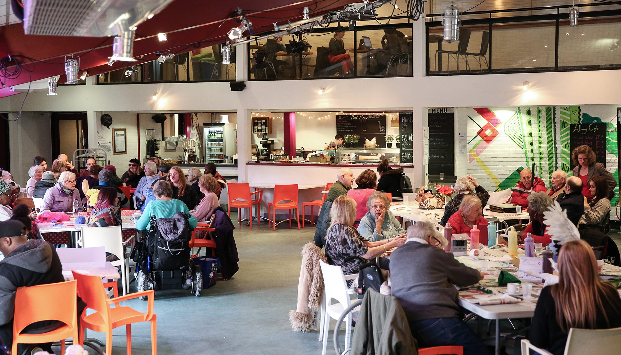 arts centre cafe with people around tables