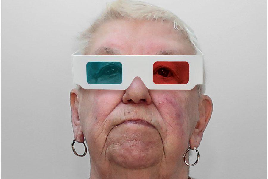 older women wearing 3D film glasses