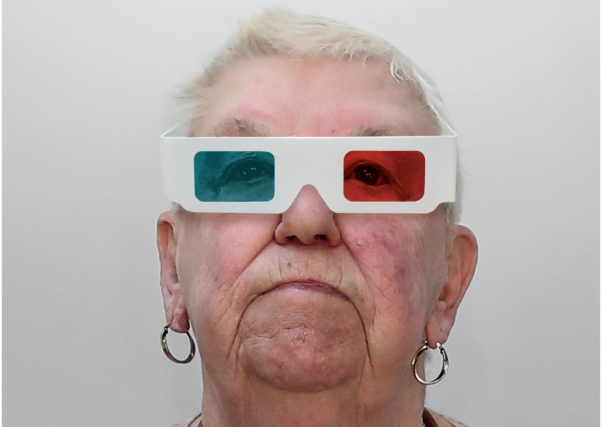 older woman with 3d film glasses on