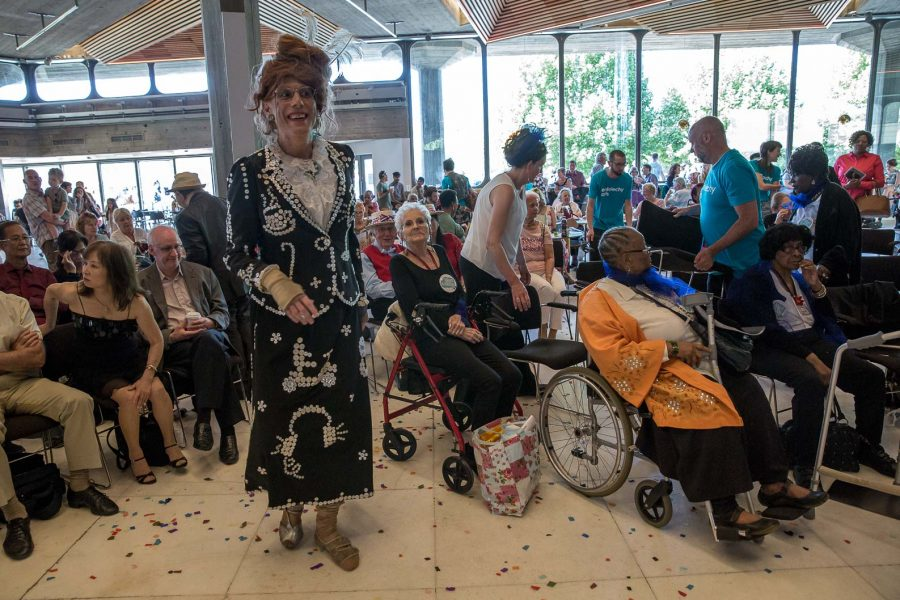 Ida Barr as a pearly queen at event