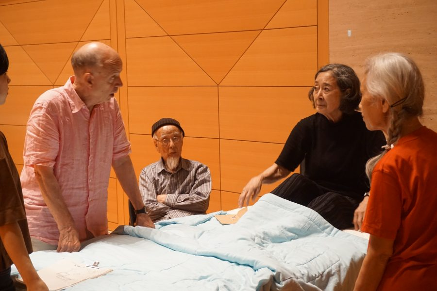 Bed rehearsal in Japan with actor in bed
