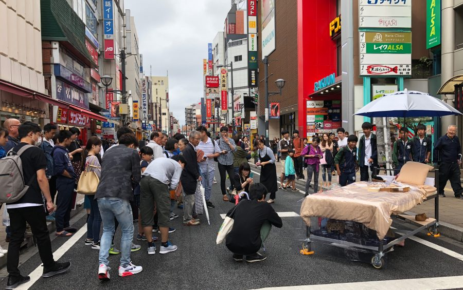 bed art project in japanese street