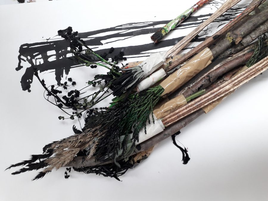 twigs and branches in paint