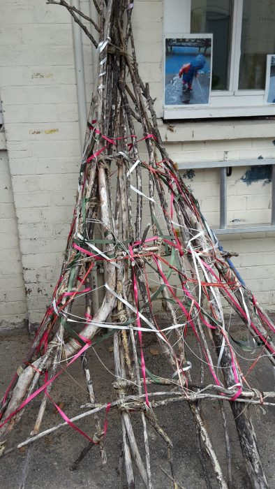 twig and ribbon sculpture