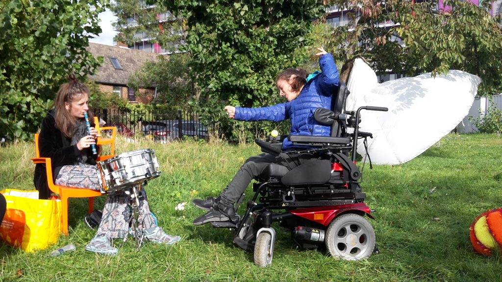 woman in wheelchair in garden