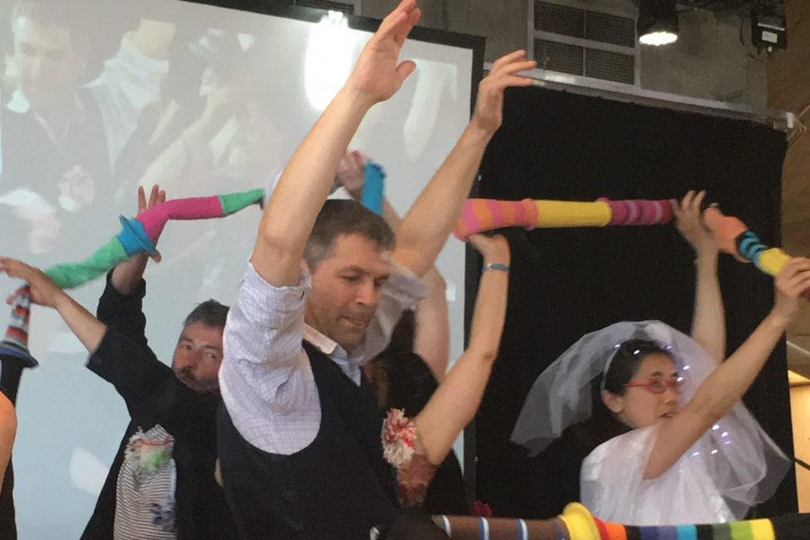 Rainer Knupp dancing with ambiet jam participants