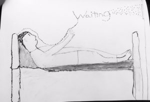 a man lying in bed with the word 'waiting' written above him while he points at it.