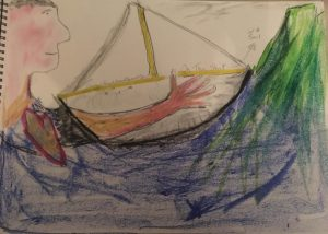 drawing of a boat on water in colour pencil