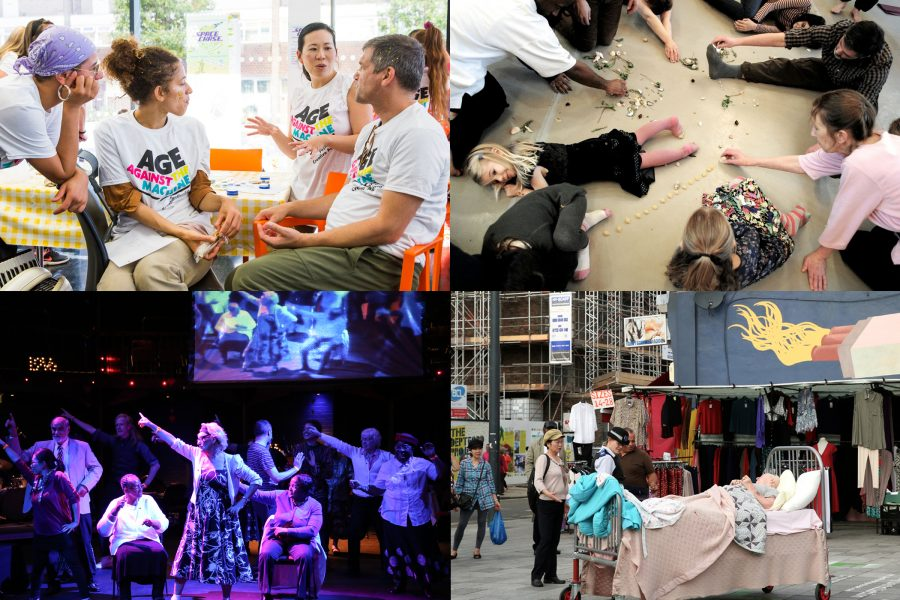 four images of people participating in Entelechy Arts activities