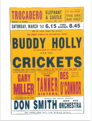 Poster with names of musicians on like Buddy Holly