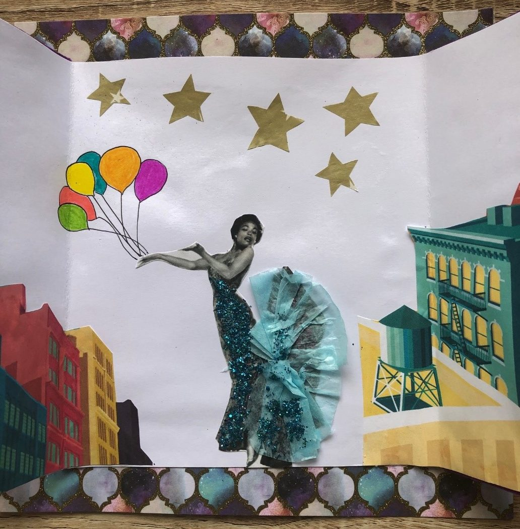 handmade card showing woman with a bunch of balloons