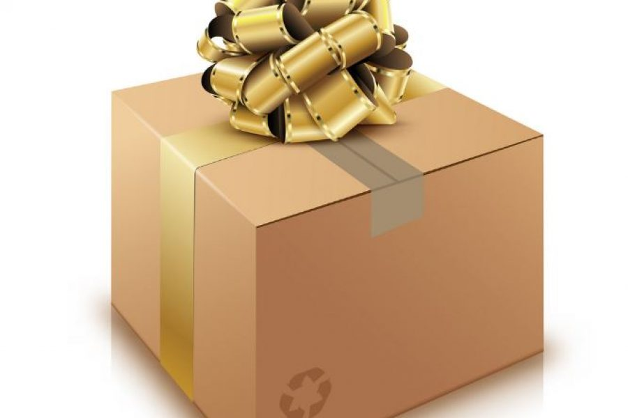 brown cardboard box with gold ribbon and bow