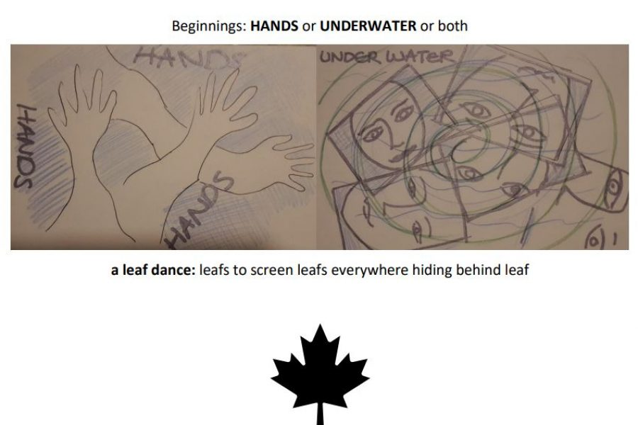 Writing and drawings with images of hands and faces