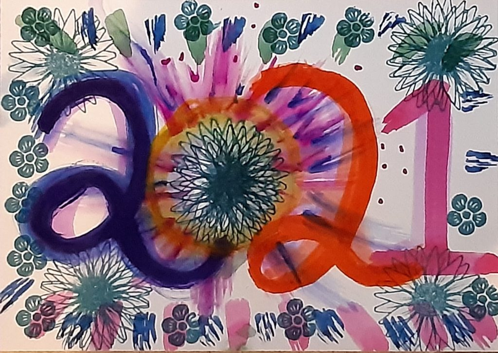 watercolour artwork with 2021 painted in bright colours