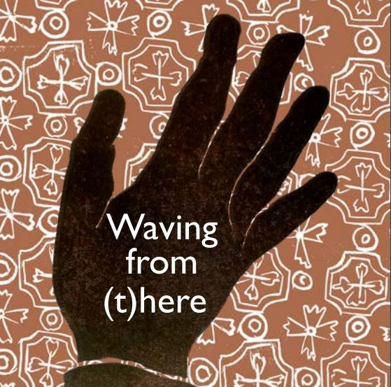 Image of a hand on a patterned background with text waving from there