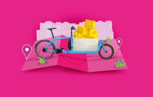 bright pink graphic image of a blue bike with yellow packages balanced on the front cargo platform.