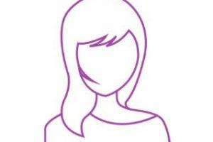 outline of a women in a purple line