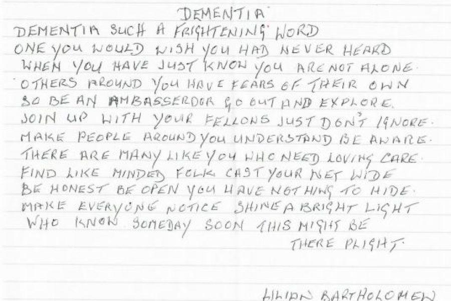 a handwritten poem