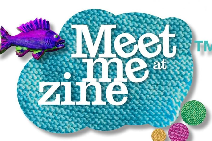 Meet Me Zine text in a blue cloud shape with a purple fish